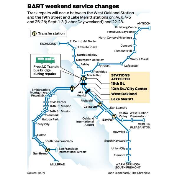 Bart San Francisco Map Stations.Bart Work To Shut Down Two Stretches Of Track In Oakland Aug 4 5