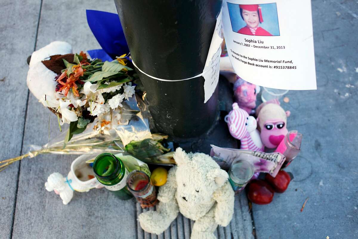 Mourners have created a makeshift memorial for Sophia Liu at the corner of Polk and Ellis streets on January 15, 2014 in San Francisco, Calif. Sofia Liu, 6, was killed, and two people were injured at the intersection on New Year's Eve. Since New Year's Eve there has been a spate of pedestrian fatalities in San Francisco.