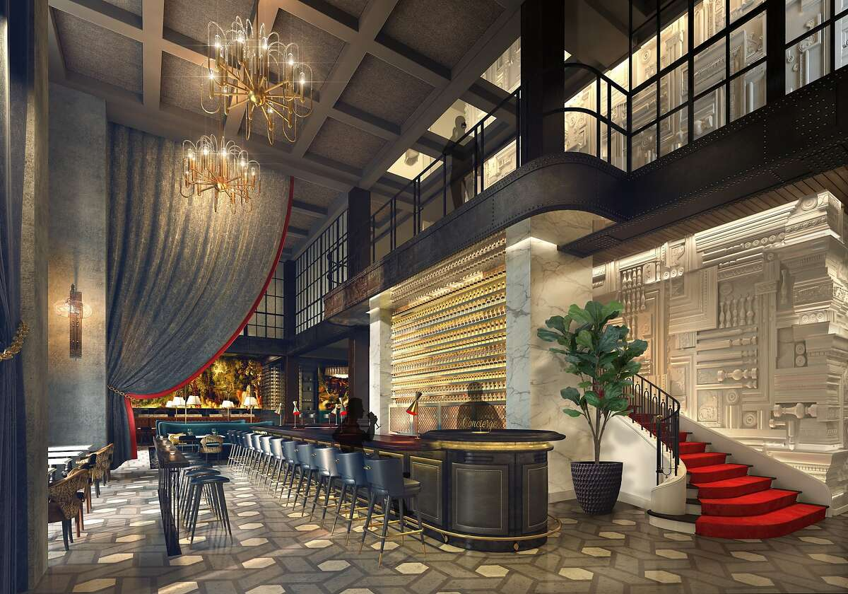 A rendering of the Commons Club on the ground floor of the Virgin Hotel San Francisco