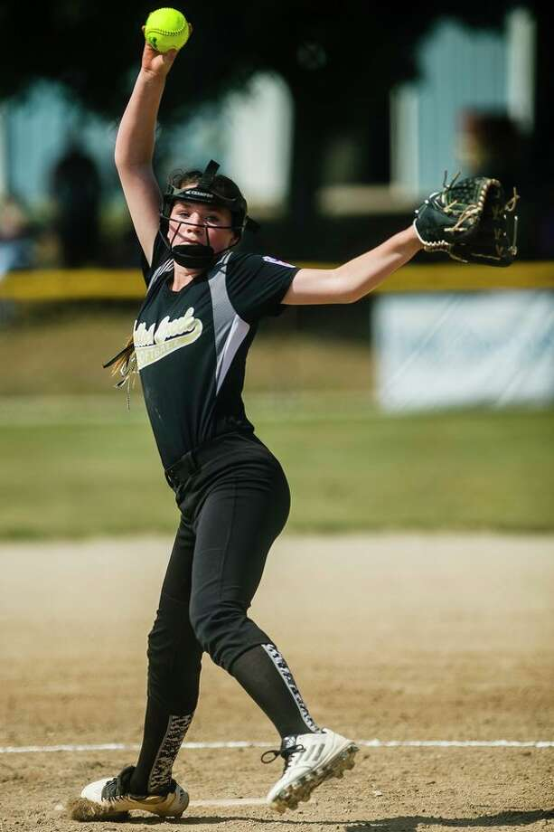 Bullock Creek's Grace Stern pitches against Escanaba during the Little League Softball major state tournament in Sanford in July. (Daily News file photo)