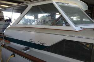 A view of the helm of the 1967 Chris-Craft Crusader offered on Craigslist for $10,000.