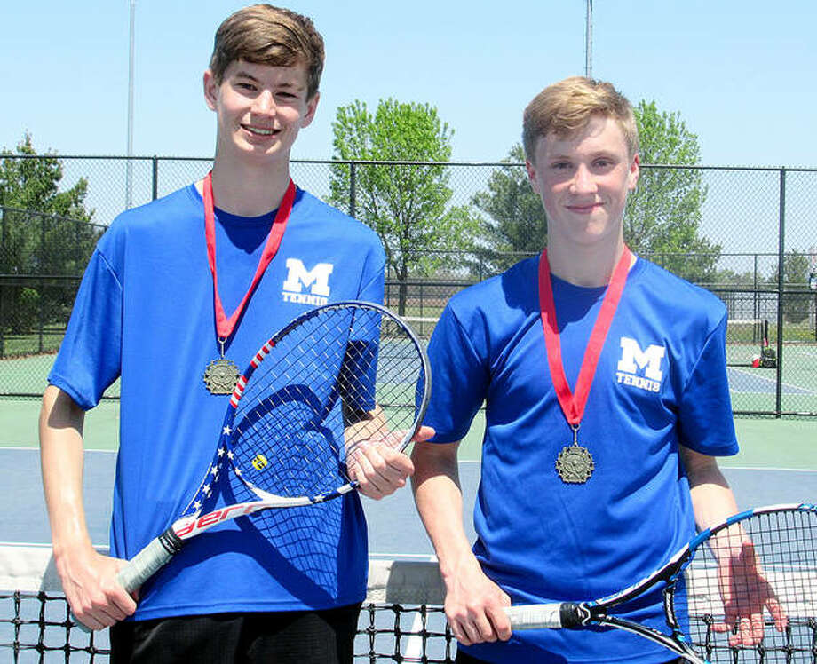 The Marquette Catholic High School doubles team of Daniel McCluskey, left, and AJ Bower have been named to the Illinois High School Tennis Coaches Association All-State Second Team. Photo:     Submitted Photo