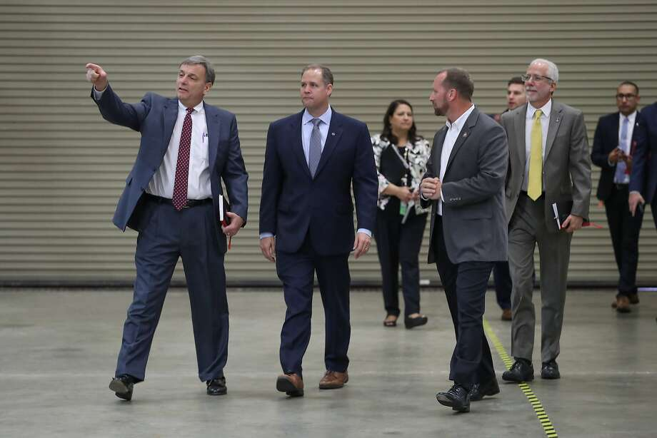 NASA Administrator Jim Bridenstine, second from left, said Thursday some commercial companies already have expressed interest in this idea, and they're submitted plans to the agency on how to accomplish this feat.  >>See photos of life inside and outside the International Space station over the years in the following photos... Photo: Steve Gonzales, Houston Chronicle