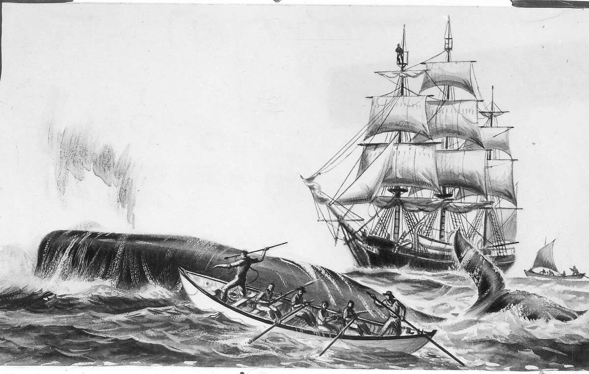 Whaling and whale hunters .. Handout photo From a jacket design by Samuel Bryant,1956 Photo ran 03/11/1956, p. 18 This World