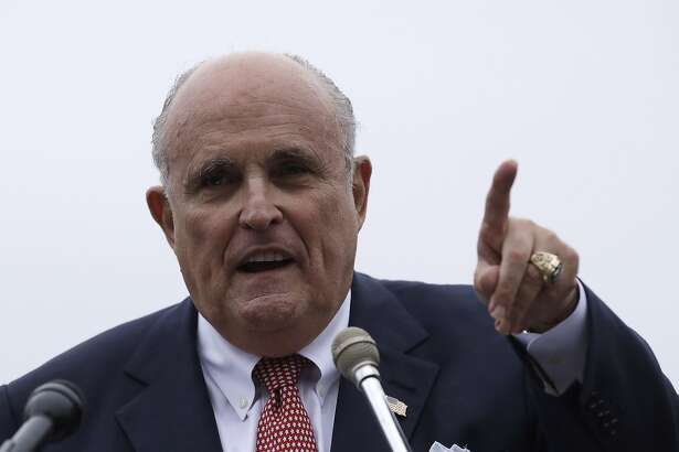 Rudy Giuliani, an attorney for President Trump, during campaign event for Eddie Edwards, who is running for the U.S. Congress in New Hampshire, in Portsmouth, N.H., Wednesday, Aug. 1, 2018. (AP Photo/Charles Krupa)