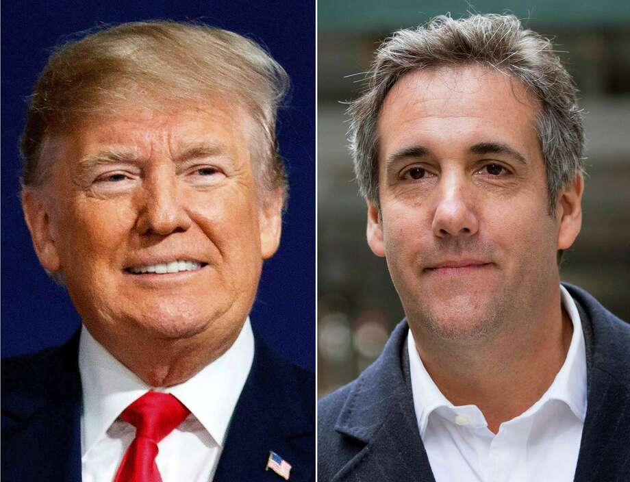 This combination photo shows President Donald Trump and attorney Michael Cohen. The audio recording of Trump and his then-lawyer, Cohen, captures the two men discussing hush money payments to a former Playboy model alleging an affair.(AP Photo) Photo: Associated Press / Copyright 2018 The Associated Press. All rights reserved.