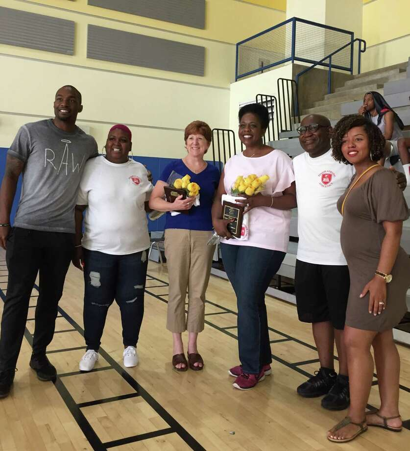 Heart of Love Family's 3-on-3 Basketball Tournament was a hit on Saturday. Guests included Jonathan Jones, Albany's Commissioner of Recreation, Youth & Workforce Services (far left), Albany mayor Kathy Sheehan (third from left), Albany Schools Superintendent Kaweeda Adams (fourth from left). Heart organizer John Williamson is second from right.