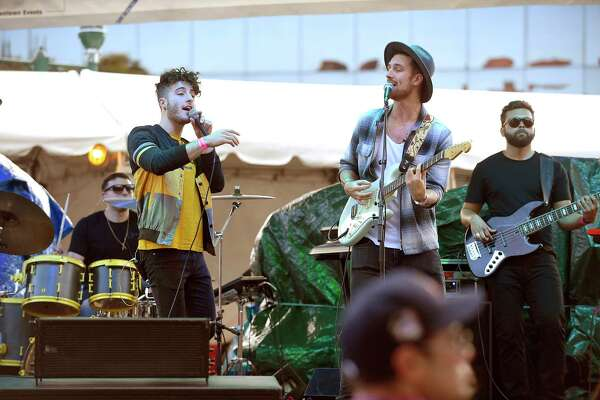 Justin Breit and Justin Slaven of the retro-pop duo Fly by Midnight open for Neon Trees at the Alive@Five summer concert series at Columbus Park in Stamford, Connecticut on August 2, 2018.