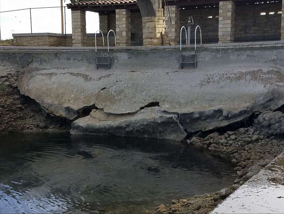 The damage to the pool at the Balmorhea State park was documented by the Texas Parks and Wildlfe staff. Photo: Texas Park And Wildlife
