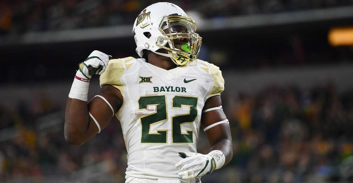 ARLINGTON, TX - NOVEMBER 25: Terence Williams #22 of the Baylor Bears after scoring a touchdown during the game against the Texas Tech Red Raiders on November 25, 2016 at AT&T Stadium in Arlington, Texas. Texas Tech defeated Baylor 54-35. (Photo by John Weast/Getty Images)