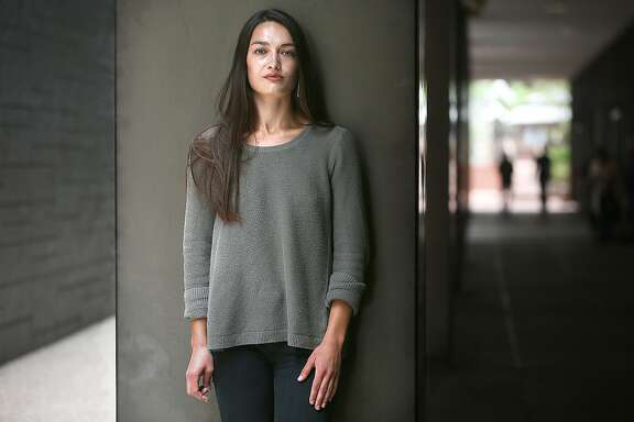 Stanford graduate Sinead Talley talks about her sexual assault while at school before she graduated on Friday, June 15, 2018 in San Francisco, Calif.