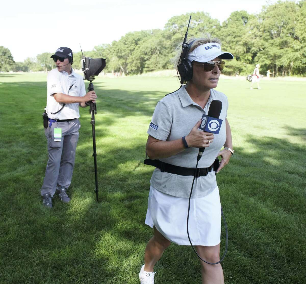 PGA TOUR ON CBS PICTURED: Dottie Pepper CBS Sports On-Course Golf Reporter Barclay\'s Golf Tournament Bethpage Black Course, NY Photo Cr.: Timothy Kuratek CBS A?Ac.2016 CBS Broadcasting Inc. All Rights Reserved