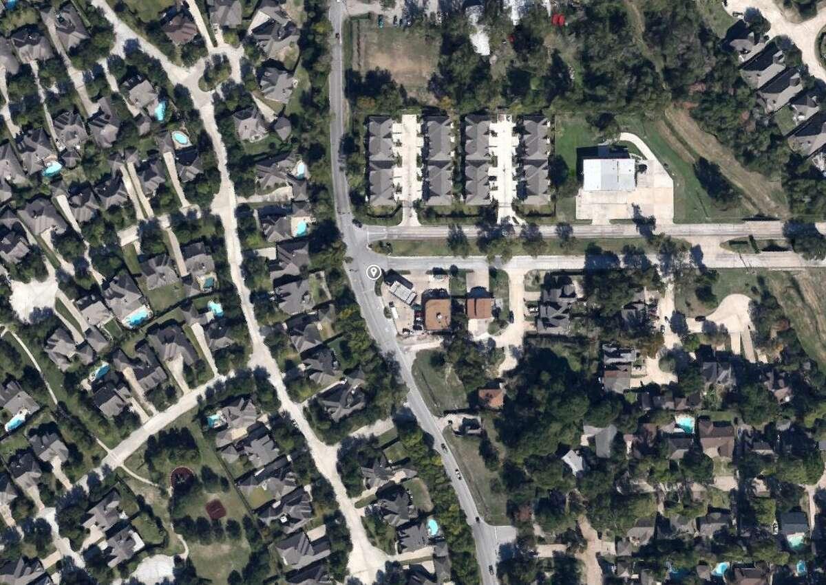 Google Maps satellite view of the 8300 block of Windfern in northwest Houston.