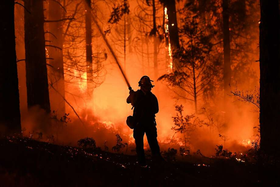 A firefighter tries to control a back burn as the Carr Fire spreads near Redding on July 31. Climate scientists say scorching temperatures this summer are making the fire season worse. Photo: Mark Ralston / AFP / Getty Images