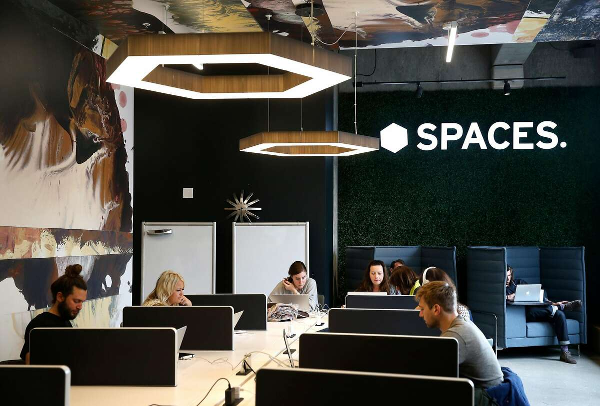 The Spaces shared co-working office suites feature open work stations at Third and Mission streets in San Francisco, Calif. on Thursday, Aug. 2, 2018.