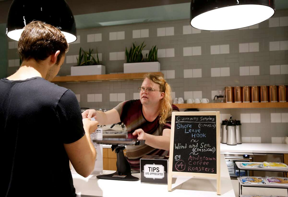 Raven Marshall operates the cafe at the Spaces shared co-working office suites at Third and Mission streets in San Francisco, Calif. on Thursday, Aug. 2, 2018.