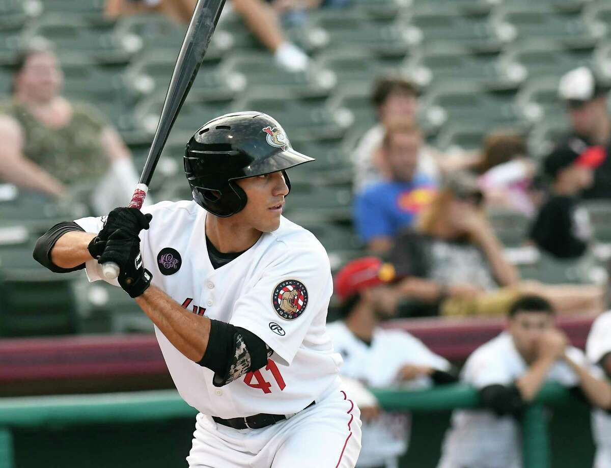 Tri-City ValleyCats Alex McKenna (41) bats against the Tri-City ValleyCats the Lowell Spinners during a minor league baseball game Thursday, Aug. 2, 2018, in Troy, N.Y. (Hans Pennink / Special to the Times Union)