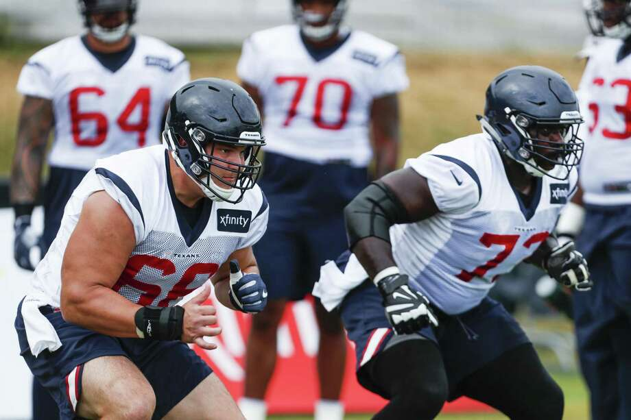 Center Nick Martin (left) and guard Zach Fulton set up in a pass-blocking drill. Fulton was acquired to provide toughness and savvy. Martin is coming back from a second ankle surgery. Photo: Brett Coomer / Staff Photographer / © 2018 Houston Chronicle