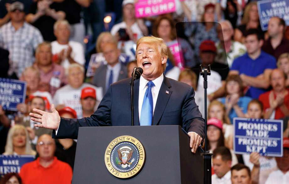 President Donald Trump during a political rally, Thursday, Aug. 2, 2018, at Mohegan Sun Arena at Casey Plaza in Wilkes Barre, Pa.. Photo: Carolyn Kaster, AP / Copyright 2018 The Associated Press. All rights reserved.