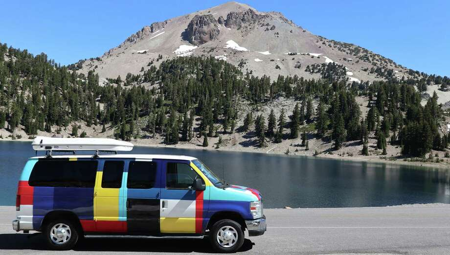 Abby the Campercan and Lake Helen at Lassen Peak in Lasen Volcanic National Park in California. (Photo by Herb Terns) Photo: Picasa