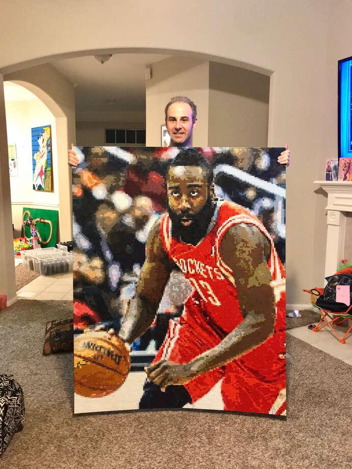 Houston-area man Joseph Kraham created a LEGO mosaic of Rockets star James Harden using around 28,000 pieces and 250 different color shades. Photo: Courtesy Of Joseph Kraham