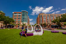 The renovation of the plaza at Sugar Land Town Square brought new seating areas.