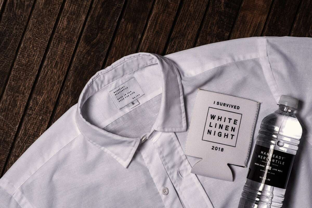 Manready Mercantile is selling white linen button-down shirts, white cotton t-shirts, white bandanas, and koozies.