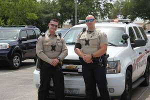 Katy Police Department Officers, from left,Joshua Domer and Dustin Garcia, were among participants at a recent send-off for Katy-area military recruits organized byTexans Embracing America's Military.