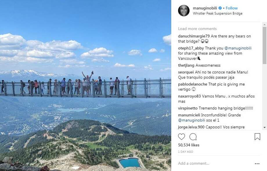 While Spurs fans wonder about the future of Manu Ginobili, the team's oldest player, Ginobili is traveling the continent with his family and posting stunning pictures to social media. Photo: Instagram Screengrabs