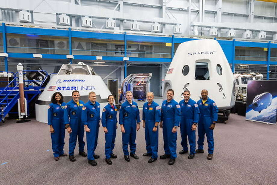 "This handout photograph obtained August 3, 2018 courtesy of NASA shows the first US astronauts who will fly on American-made, commercial spacecraft to and from the International Space Station  an endeavor that will return astronaut launches to US soil for the first time since the space shuttles retirement in 2011.  The agency assigned nine astronauts to crew the first test flight and mission of both Boeings CST-100 Starliner and SpaceXs Crew Dragon. The astronauts are from left: Sunita Williams, Josh Cassada, Eric Boe, Nicole Mann, Christopher Ferguson, Douglas Hurley, Robert Behnken, Michael Hopkins and Victor Glover. / AFP PHOTO / NASA / NASA /  == RESTRICTED TO EDITORIAL USE  / MANDATORY CREDIT:  ""AFP PHOTO /  NASA"" / NO MARKETING / NO ADVERTISING CAMPAIGNS /  DISTRIBUTED AS A SERVICE TO CLIENTS  == NASA/AFP/Getty Images Photo: NASA, AFP/Getty Images / AFP or licensors"