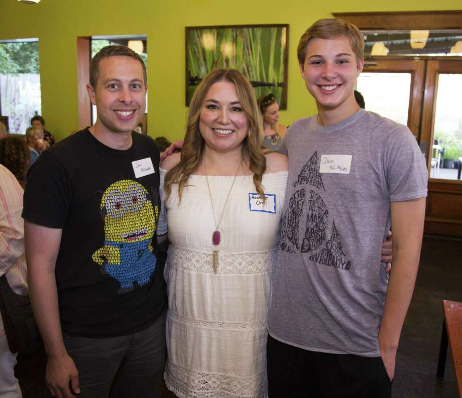 Pictured from left are John McClendon, Heather Orr (MCCS artistic director), and Quinn McClendon at a Meet and Greet for new Montgomery County Choral Society artistic director Heather Orr on July 16 at Pie in the Sky. MCCS Choral Society rehearsals begin on Aug. 20. The last vocal placement session for this season is Monday. Visit www.mcchoral.org for more information. Photo: Photo By BKMeyer Photography