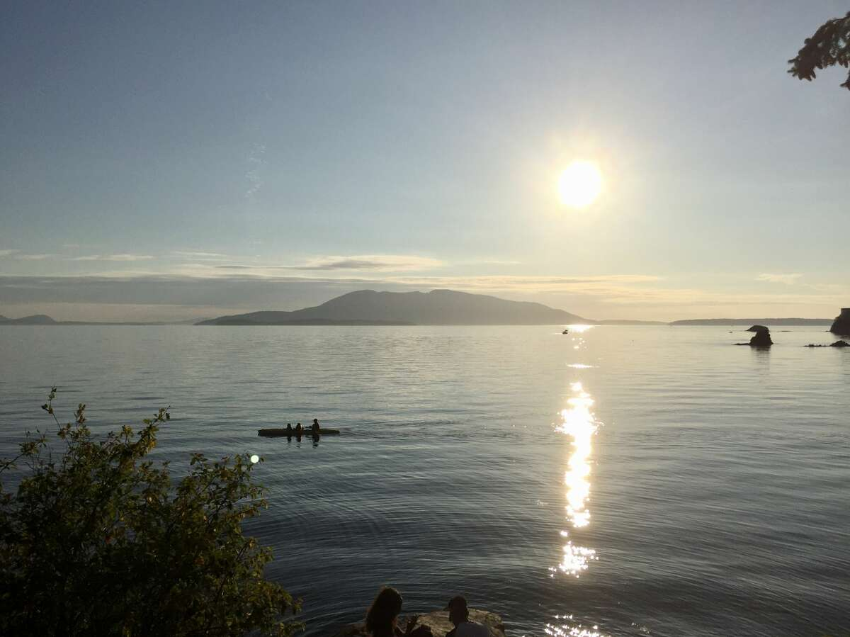 A waning sun over Samish Bay is seen from Larrabee State Park, just south of Bellingham and along the acclaimed Chuckanut Drive.