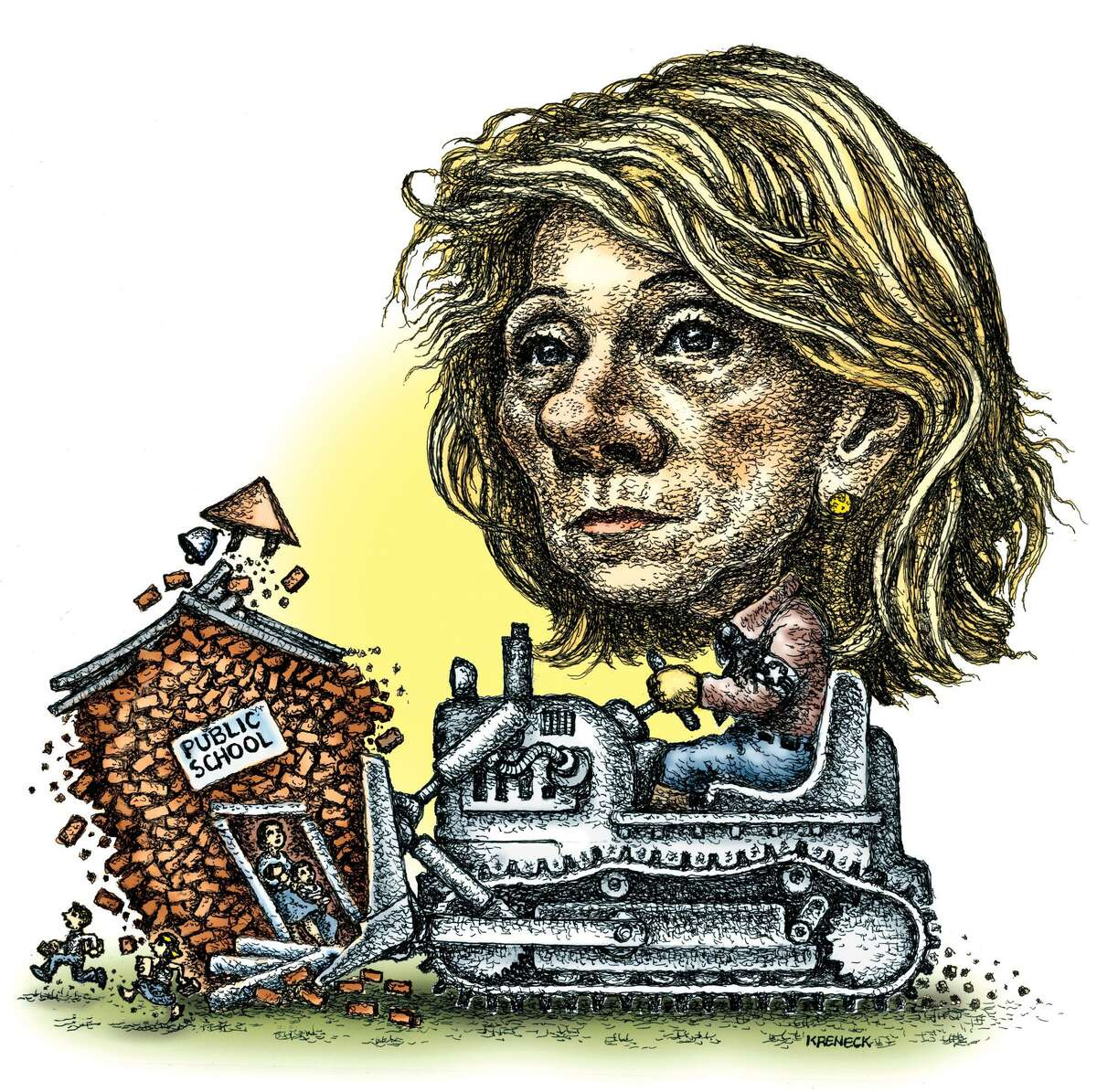 This artwork by Kevin Kreneck refers to Betsy DeVos and how she might change and influence the Department of Education.