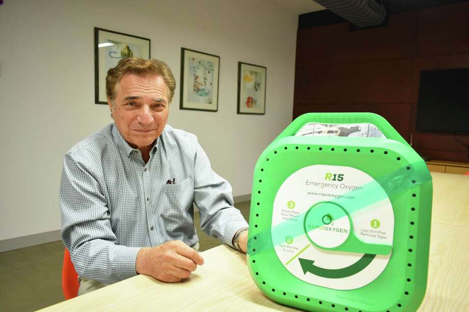Richard Imbruce in August 2018 in the Stamford office of his startup Rapid Oxygen, whose R15 device is designed to produce  oxygen to be administered as first aid for those suffering strokes and other emergencies. Imbruce hopes to see the devices installed in buildings and public venues nationally akin to automatic external defibrillators used to provide first aid to heart attack victims. Photo: Alexander Soule / Hearst Connecticut Media / Stamford Advocate