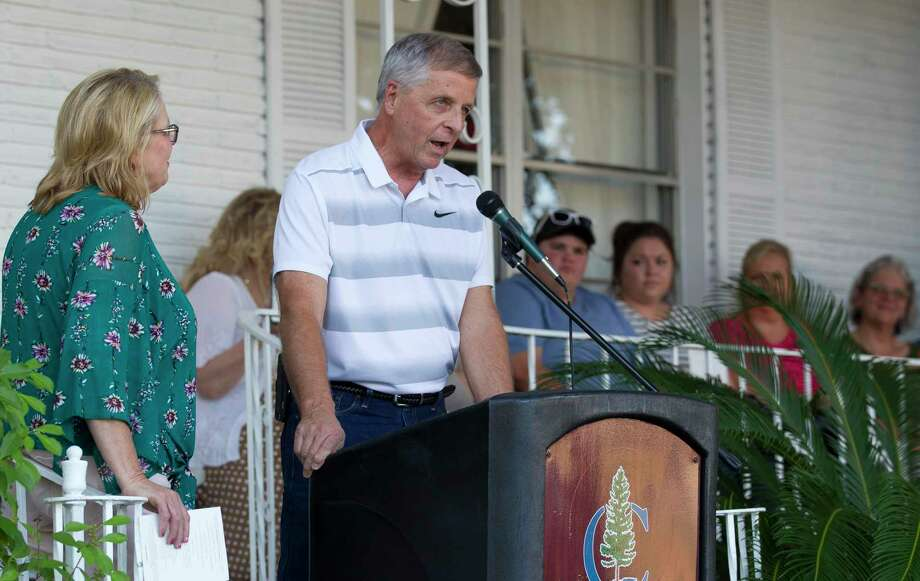 Mike Bowden, a descendant of Conroe founder Isaac Conroe, talks about his memories of his family's historic house during the inaugural Conroe Founder's Day on Thursday, Aug. 2, 2018, in Conroe. Photo: Jason Fochtman, Staff Photographer / Houston Chronicle / © 2018 Houston Chronicle