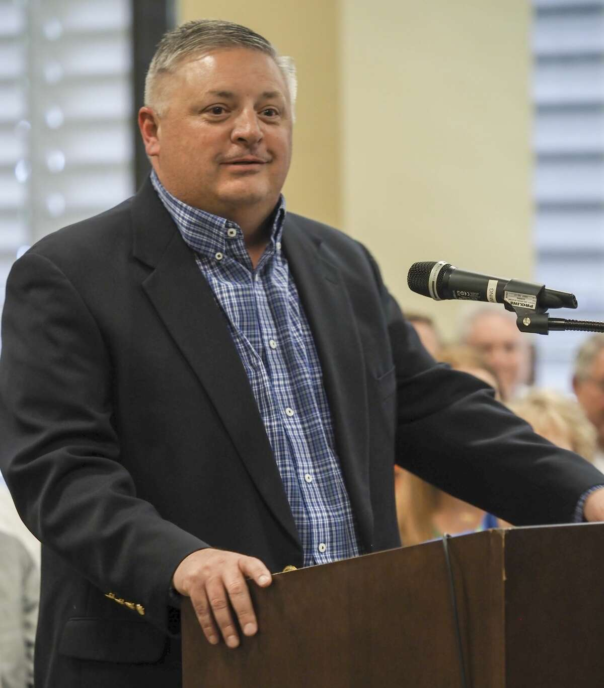 Greenwood Superintendent Ariel Elliott thanks members of the Commissioners' Court for money to cover enhanced security at Greenwood schools in 2018. Tim Fischer/Reporter-Telegram