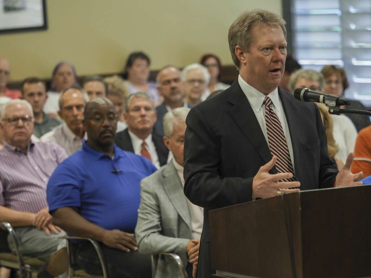Midland Memorial Hospital president and CEO Russell Meyers thanks members of the Commissioners Court 08/03/18 as the court gives out more than $11 million in sales tax money to area groups serving county residents. Tim Fischer/Reporter-Telegram