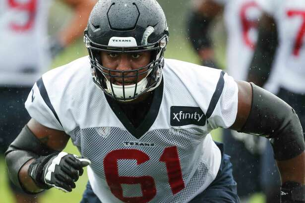 Houston Texans offensive guard Kyle Fuller (61) runs off the line during training camp at the Greenbrier Sports Performance Center on Friday, Aug. 3, 2018, in White Sulphur Springs, W.Va.