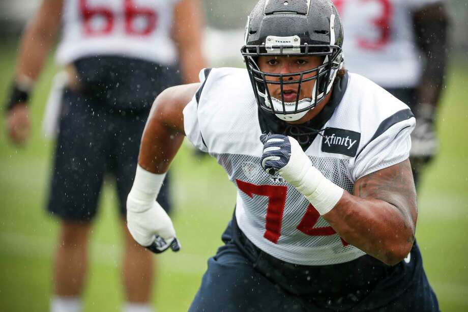 Houston Texans offensive tackle Kendall Lamm runs off the line during training camp at the Greenbrier Sports Performance Center on Friday, Aug. 3, 2018, in White Sulphur Springs, W.Va. Photo: Brett Coomer, Houston Chronicle / © 2018 Houston Chronicle