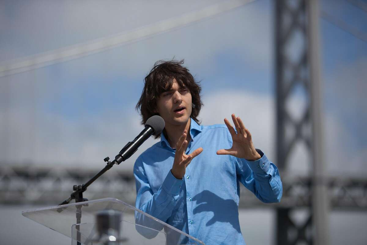 Boyan Slat, CEO and founder of The Ocean Cleanup, discusses details of the Mega Expedition with the press on Sunday, Aug. 23, 2015 in San Francisco, Calif. The first batch of Mega Expedition vessels arrives in San Francisco after a 30-day voyage mapping the Great Pacific Garbage Patch.