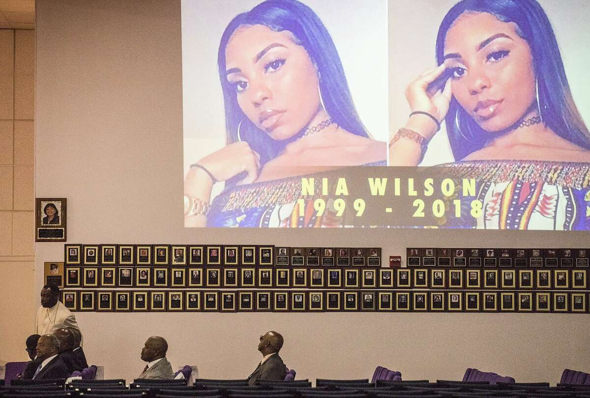 Mourners begin to arrive to attend a funeral service held for 18-year-old Nia Wilson of Oakland at Acts Full Gospel Church in Oakland, Calif. Friday, Aug. 3, 2018. Wilson was killed Sunday, July 22, 2018 at Macarthur Bart station in Oakland, Calif.