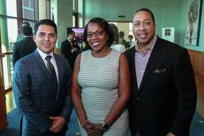 Jorge Blankenship, from left, Stacy Canady and Roderick Brown at the Greater Houston Hispanic Chamber of Commerce Foundation's (GHHCCF) Emerging Leaders Institute graduation.