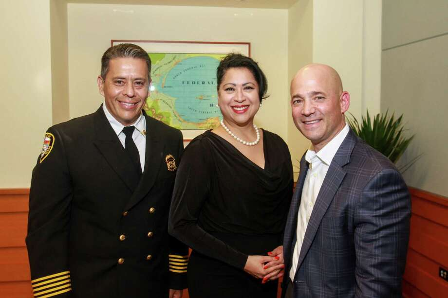 Fire chief Samuel Pena, from left, Dr. Laura Murillo and Dan Milwit  Photo: Gary Fountain, Houston Chronicle / © 2018 Gary Fountain