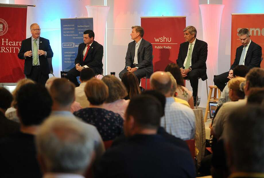 From left; Republican candidates for governor Mark Boughton, Tim Herbst, Steve Obsitnik, Bob Stefanowski, and David Stemerman face off in a Hearst Connecticut Media sponsored debate at Sacred Heart University in Fairfield, Conn. on Tuesday, July 24, 2018. Photo: Brian A. Pounds / Hearst Connecticut Media / Connecticut Post