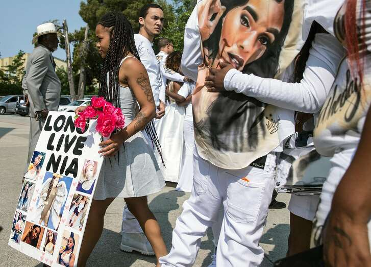 During a funeral service held for 18-year-old Nia Wilson of Oakland at Acts Full Gospel Church in Oakland, Calif.  Friday, Aug. 3, 2018. Wilson was killed Sunday, July 22, 2018 at Macarthur Bart station in Oakland, Calif.