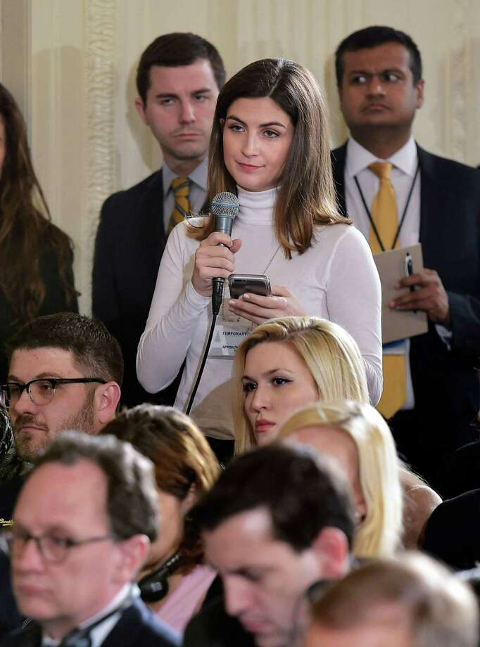 "CNN correspondent Kaitlan Collins says she was told the White House Press Office that she could not attend an event with President Trump and European Commission chief Jean-Claude Juncker because she had asked ""inappropriate"" questions earlier in the day. A reader says this action against her is un-American. Photo: MANDEL NGAN /AFP /Getty Images / AFP or licensors"