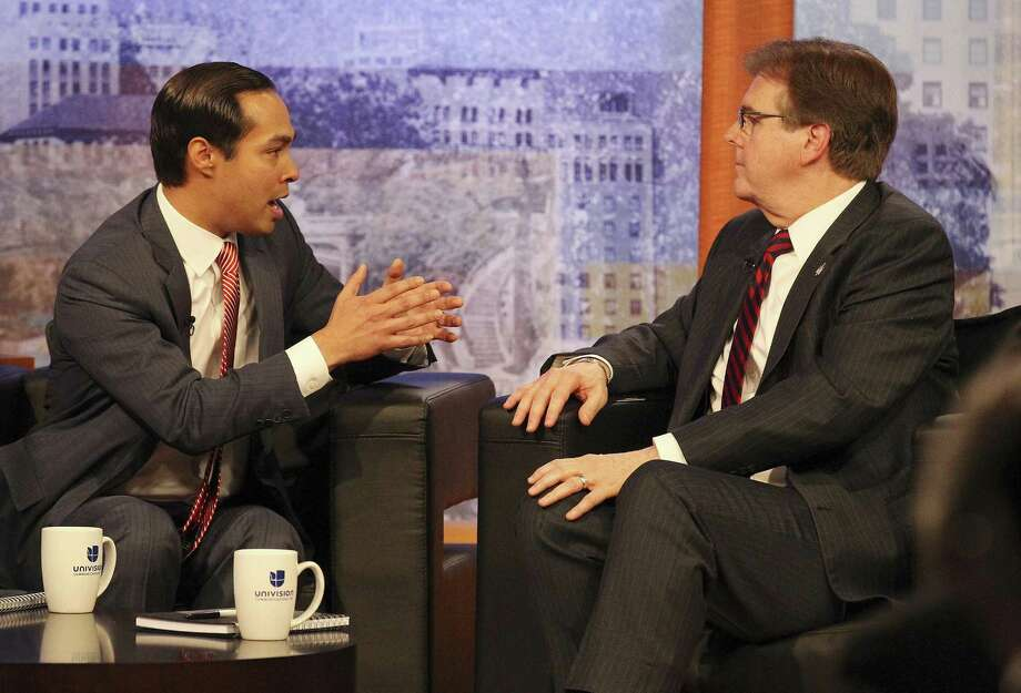 Mayor Julian Castro, left, and State Sen. Dan Patrick, R-Houston, square off for a debate on immigration at Univision television on April 15, 2014. Patrick had not problem squaring off against Castro, but is balking at a debate with Democratic nominee Mike Coller in the lieutenant governor's race. Photo: Kin Man Hui /San Antonio Express-News / ©2014 San Antonio Express-News
