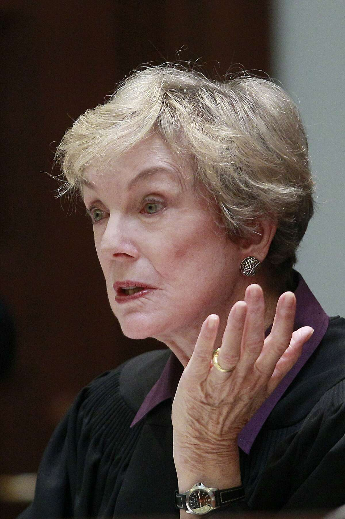 In this Nov. 10, 2011 photo, Justice Kathryn Werdegar is shown at the California Supreme Court in San Francisco. The court announced Wednesday, March 8, 2017, that Werdegar will step down Aug. 31, 2017. Republican Gov. Pete Wilson appointed Werdegar to the state's high court in 1994. (AP Photo/Jeff Chiu)