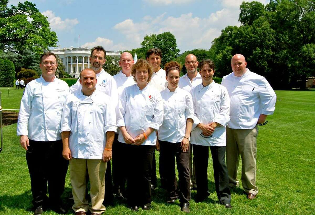 A group of chefs from Connecticut who went to the White House to meet with First Lady Michelle Obama, left to right, Peter Gorman of Unquowa School in Fairfield, Jeff Borofsky of Wood Fired Mobile Pizza company, John Turenne of Sustainable Food Systems LLC, Tim Cipriano of the New Haven public school systems, Anne Gallagher of Anne Gallagher Catering and Plow to Plate, Mark Shadle of It's Only Natural in Middletown, Tagan Engel of New Haven, Jonathan Rapp of River Tavern in Chester, Thomas Peterlik of Yale University, and Tyler Anderson of Copper Beech Inn in Essex.