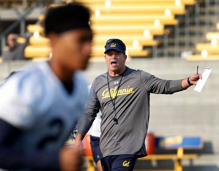 Head Coach Justin Wilcox leads the first day of Cal Bears football practice at Memorial Stadium in Berkeley, Calif. on Friday, Aug. 3, 2018.